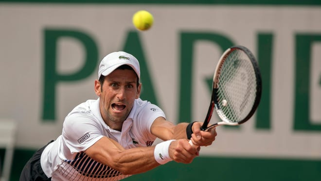 Novak Djokovic in action during his match against Joao Sousa on Day 4 of the French Open.