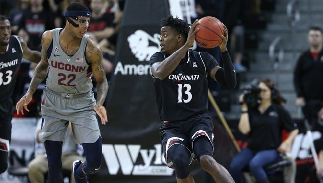 Cincinnati Bearcats forward Trevon Scott (13) had a strong night off the bench Thursday. Scott had season-highs of nine points and nine rebounds in a 77-52 win over UConn.