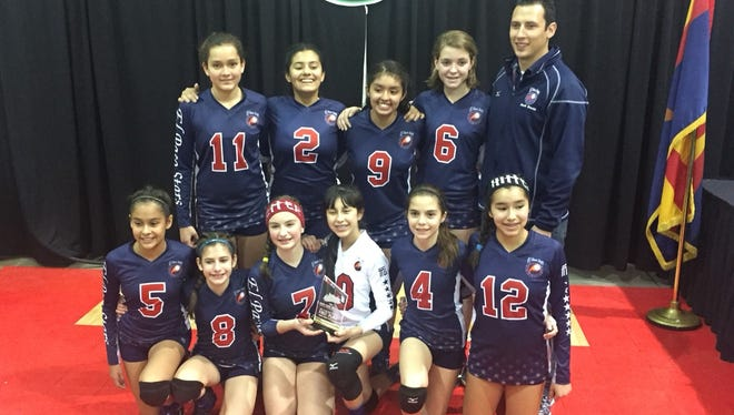 The El Paso Stars volleyball team won the 13-and-under gold division at the Cactus Classic in Tucson on Jan. 16-17. The team also played in the 14-and-under division and place seventh. The team consists of Elizabeth Prado, Rhiana Houlahan, Gladys Reveles, Jackie Watzling, Melody Stout, Lauren Fischer, Valeria Garcia, Alyssa Aguirre, Kristen Kazhe and Melody Moreno. The team is coached by Job Abner Jr.