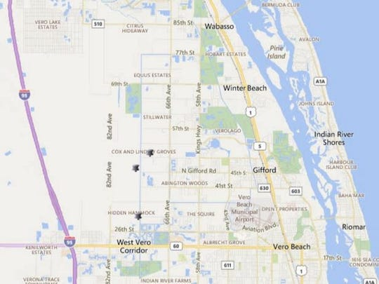 A map shows where authorized burns are in eastern Indian River County on Friday, Feb. 3, 2017.