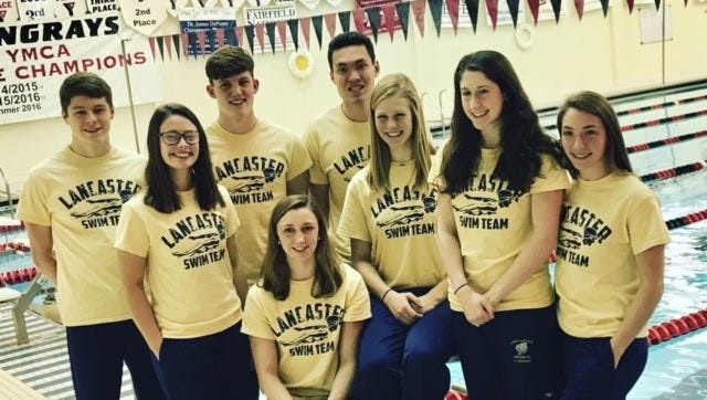 The Lancaster High School swim team recently honored its seniors, and they are front row, left to right: Michaela Stewart, Olivia Schmelzer, Emily Cordle, Hannah Parkman and Catherine Shook. Back row, L-R: Alec Gilmore, Michael Lewis and Heath Hajost.