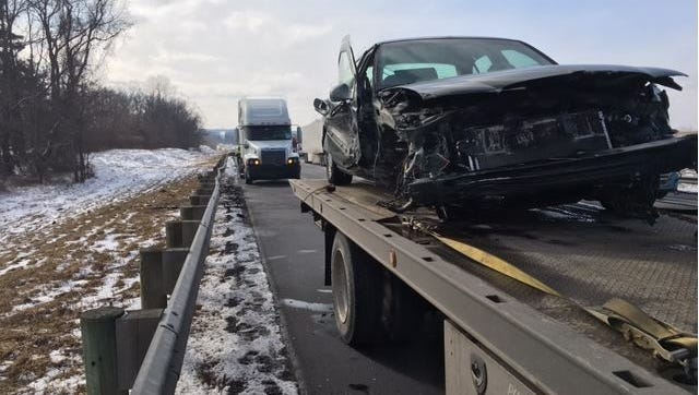 Troopers from the Ashland post of the Highway Patrol Tuesday afternoon investigated a car vs. vehicle crash on northbound Interstate 71 at the Richland-Ashland County Line.