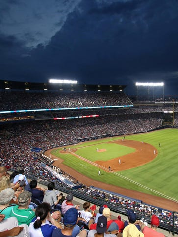 A general view from the upper desk as the Atlanta Braves