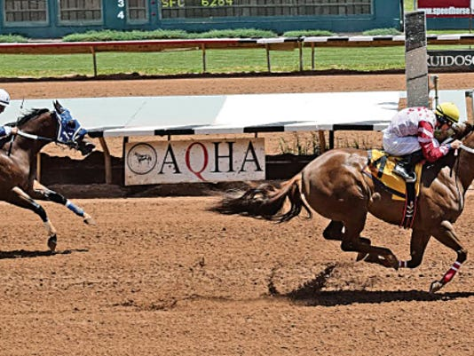 Astica led an impressive showing for trainer Wes Giles and jockey Adrian A. Ramos when she set the fastest-qualifying time to the 163,172 Zia Quarter Horse Derby.