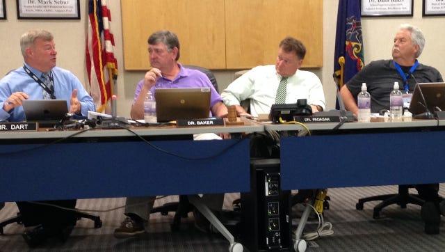 CASD Superintendent Joseph Padasak, third from left, during a school board meeting