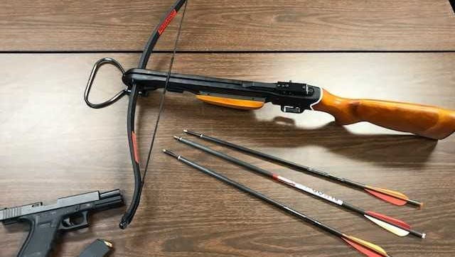 Southern Regional Police arrested two men recently in Glen Rock, who had armed themselves with a crossbow and handgun, respectively.