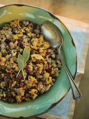 Thanksgiving stuffing in bowl