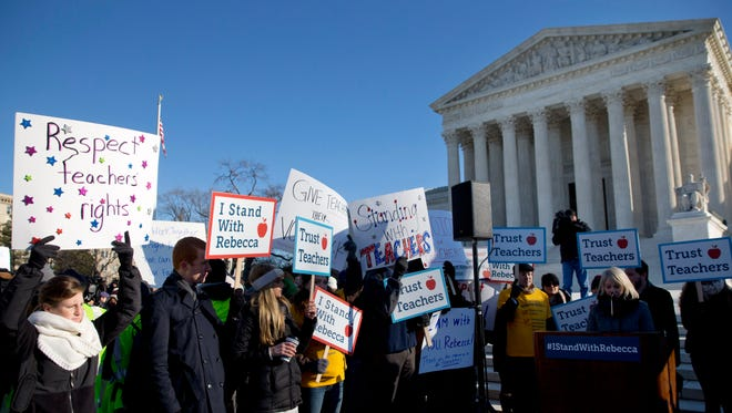 Demonstrators protested outside the Supreme Court in January 2016, the last time the justices considered a challenge to public employee unions similar to one being heard later this month.