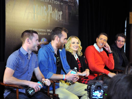 "From left: actors Devon Murray, Matthew Lewis, Evanna Lynch, Oliver and James Phelps, answer questions from the media.  Universal Orlando hosted ""A Celebration of Harry Potter,"" an event featuring items from the film franchise and news about the latest ""Harry Potter"" expansion at Universal Orlando."