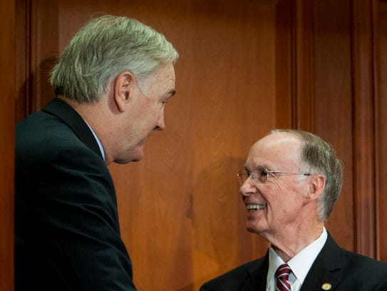 Gov. Robert Bentley, right, appoints Attorney General