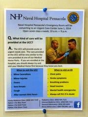 Signs like these are posted in various places throughout Naval Hospital Pensacola alerting patients who use the hospital of the upcoming change that will see the hospital going from a 24-hour-a-day emergency room to the status of a urgent care center.