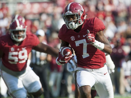 Alabama's Trevon Diggs, who caught 11 passes for 88