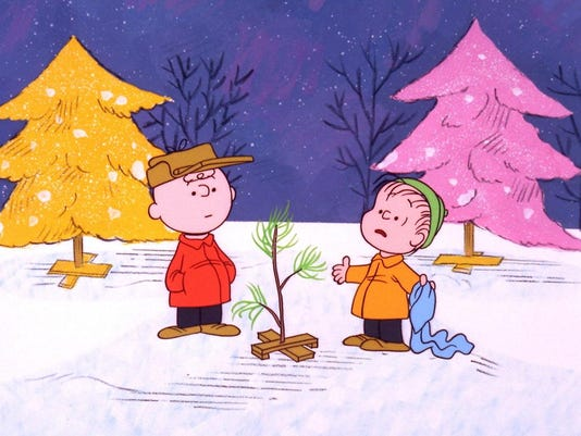 CHARLIE BROWN AND LINUS DISCUSS THE FORLORN LITTLE CHRISTMAS TREE