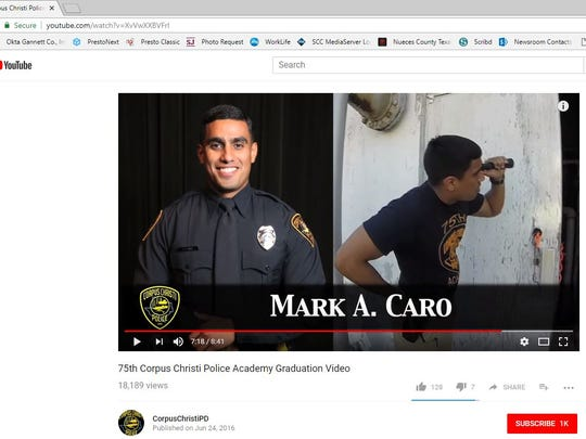A screenshot of a YouTube video posted by the Corpus Christi Police Department shows Mark A. Caro who graduated from the 75th police academy.