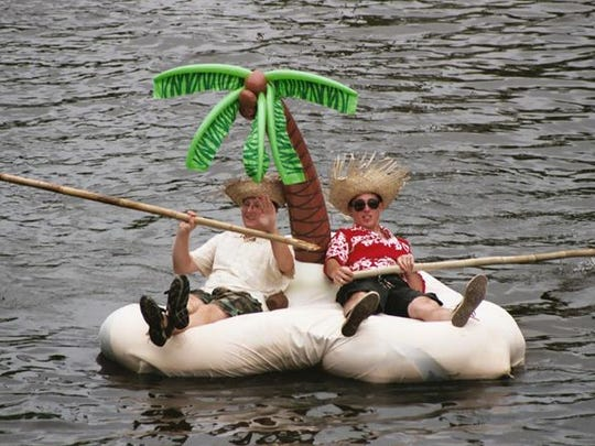 Paddlers turned their boat into a desert island for the Historic Codorus Creek Boat Parade.
