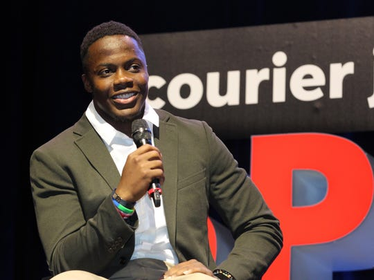 Teddy Bridgewater speaks with Jeff Greer during the 2018 Courier Journal Sports Awards.
