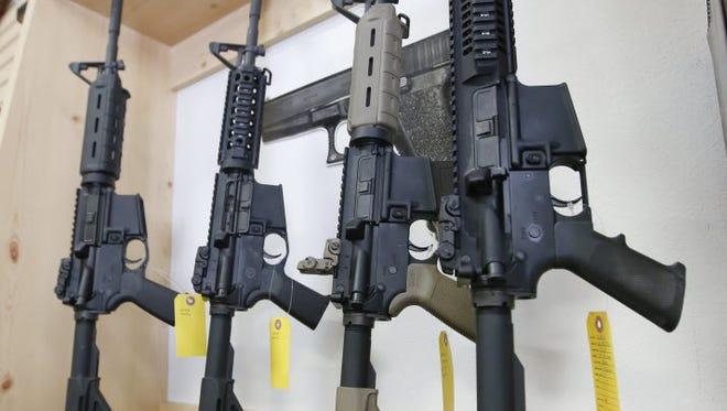 AR-15 semi-automatic guns on sale at Action Target, June 17, 2016, Springville, Utah.