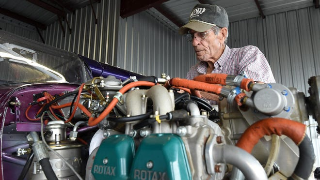 Jim Davis, 74, of Mountain Home works on his plane in preparation of his next leg of his Passion Flights for Life, a nationwide journey to land in each of the lower 48 states to give rides to cancer patients and survivors.
