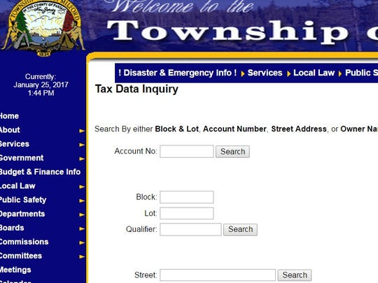 West Milford's new tax data system, seen on this Jan. 25 screen shot, allows anyone to search the latest tax data on any eligible township property.