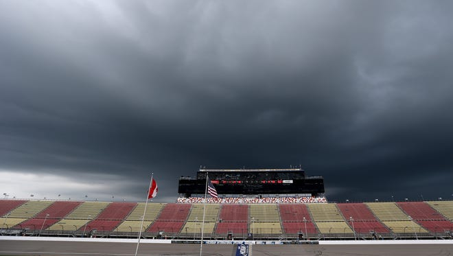 General view of the grandstands during a weather warning during the NASCAR Camping World Truck Series Careers for Veterans 200 at Michigan International Speedway on August 27, 2016 in Brooklyn, Michigan.