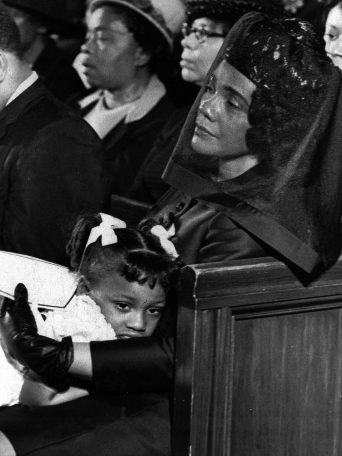 ** FILE ** Coretta Scott King and her daughter, Bernice are shown in this April 9, 1968 file photo, in Atlanta, Ga. attending the funeral of her husband, Martin Luther King, Jr. Coretta Scott King, who turned a life shattered by her husband's assassination into one devoted to enshrining his legacy of human rights and equality, has died, former mayor Andrew Young told NBC Tuesday morning. She was 78.  (AP Photo/Moneta J. Sleet, Jr.)