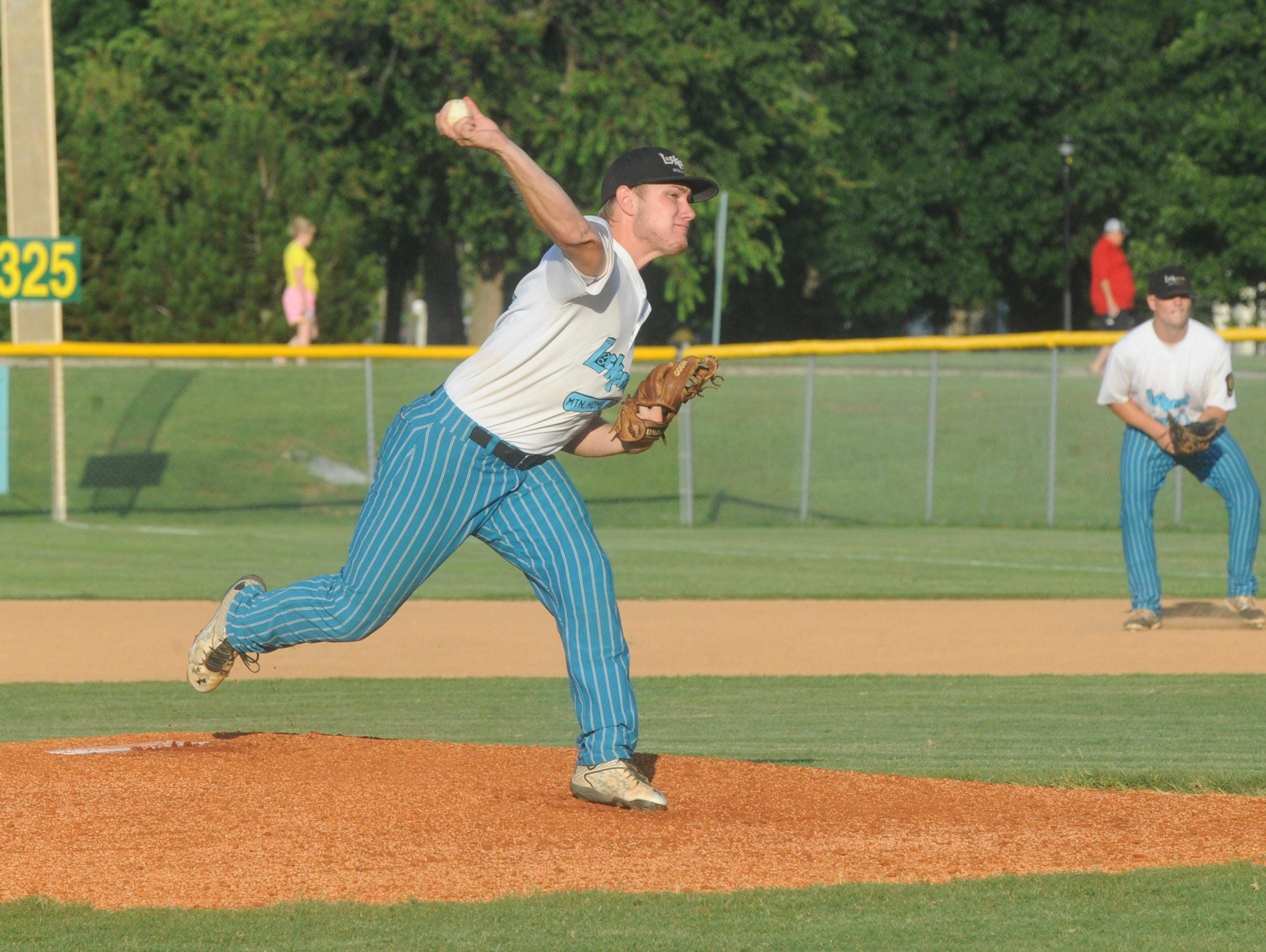 Mountain Home pitcher Hayden Hall delivers to the plate during Lockeroom's game on Friday against Blytheville. Hall tossed three hitless relief innings in Lockeroom's 11-6 victory over Batesville on Saturday night at Cooper Park.