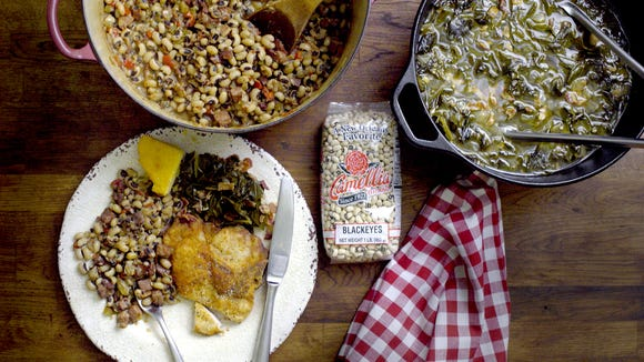 The traditional New Year's Day menu consists of greens, hoppin' John, black-eyed peas, cornbread and pot likker soup.