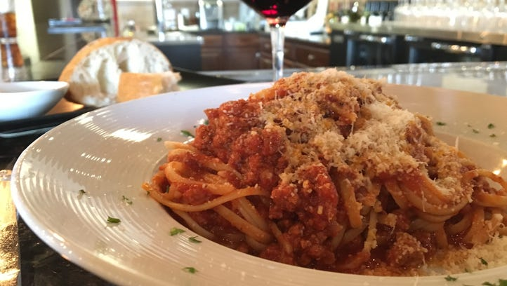 A lunch portion of spaghetti Bolognese, from Trattoria