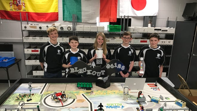 Whitefield Academy Team Blackout Team Members (left to right) - Ryan Thomasson, Caleb Wright, Olivia Janssen, Quinlan Toole and Aidan Pomles.