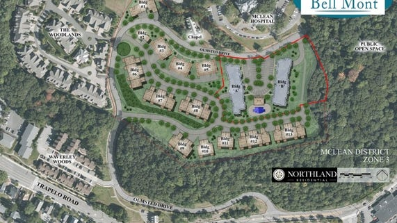 An aerial view of the proposed plans by developer Northland Residential for the Residences at Bell Mont.