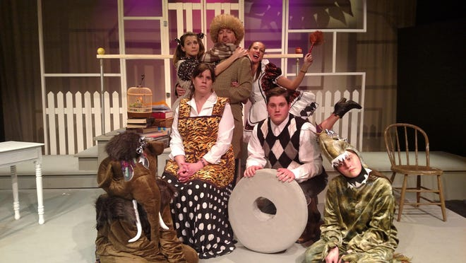 """Starring in """"The Skin of Our Teeth"""" at Ti-Ahwaga Performing Arts Center are, front fron left, Kendra Katchuk, Peggy Medina, Shane Smith and Evelyn Medina; back from left, Francesca Decker, Seth Vaughn and Talia Saracen."""