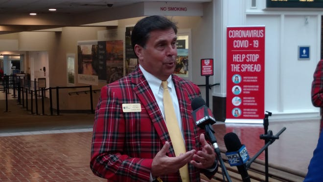Steve Wilmot, tournament director of the RBC Heritage Presented by Boeing, is interviewed by media on Monday, June 15, at Savannah/Hilton Head International Airport in Savannah.
