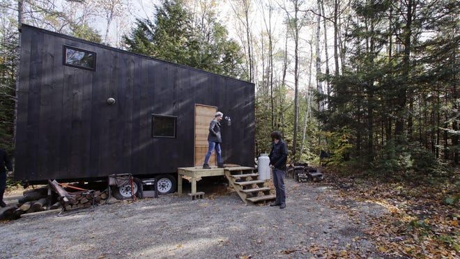 Hilary and Shane Lentz have been considering a major downsize from a three-bedroom home, so they opted to sample life in a 160-square-foot house in New Hampshire through a company offering nightly $99 stays.