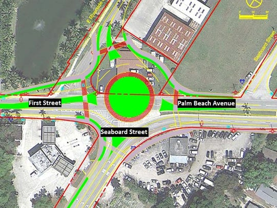 Fort Myers Roundabout -- Planned for the intersection of First and Seaboard streets and Palm Beach Boulevard