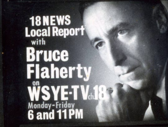 An advertisement for the news with Bruce Flaherty.