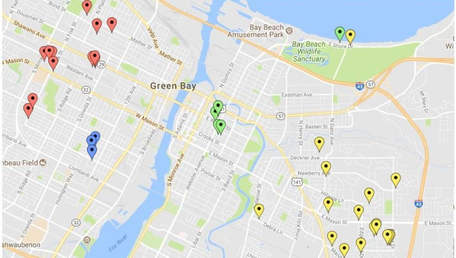 A map of sites at which building and vehicle window damage was reported during an ongoing BB-gun vandalism spree