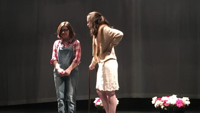 "Malina Chappius as Scout Finch and Alison Burke as Mrs. DuBose rehearse a scene for Cumberland Regional High School's production of ""To Kill a Mockingbird,"" which opens Nov. 17."