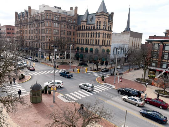 A view of York's Continental Square from the rooftop of the former Citizens Bank Building.