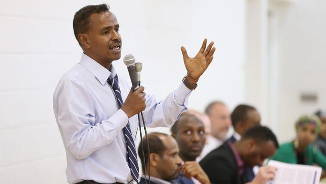 Abdirizak Bihi spoke during a Somali community meeting on stopping terror recruits Sunday in Minneapolis.Schneider)