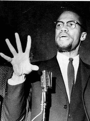 Malcolm X speaks at Corn Hill Church in 1965.