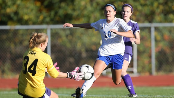 Pearl River's Emily Andriello (10) drives on John Jay-CR