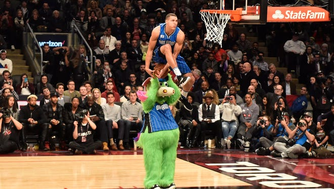 Orlando Magic forward Aaron Gordon competes during the NBA all-star slam dunk skills competition in Toronto on Saturday, Feb. 13, 2016.