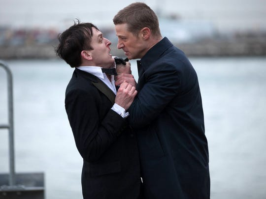"Robin Lord Taylor, left, and Ben McKenzie, are shown in a scene from ""Gotham,"" which premiered Monday on Fox. The new series is being produced in New York."
