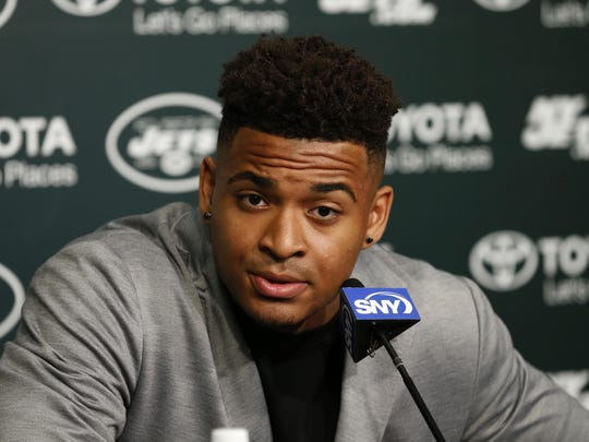 Jets first round draft pick Jamal Adams speaks during a news conference at the Atlantic Health Training Center in Florham Park.