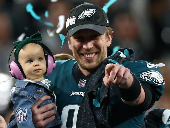 Philadelphia Eagles quarterback Nick Foles (9) celebrates