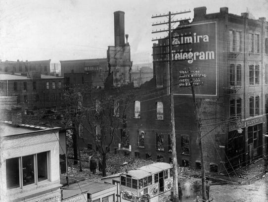 The remains of the fire-ravaged Elmira Telegram are
