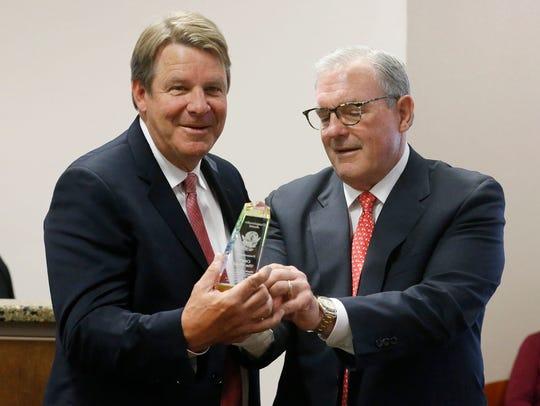 Former UTEP head basketball coach Tim Floyd was honored