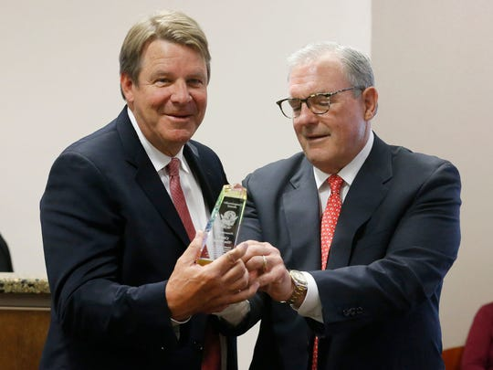 Former UTEP head basketball coach Tim Floyd was honored with the city of El Paso's Conquistador Award on May 1, receiving it from Mayor Dee Margo.