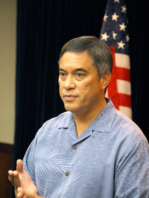 Gov. Felix Camacho speaks during a presentation at Adelup in August 2009.