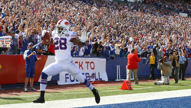 Bills C.J. Spiller celebrates a touchdown.